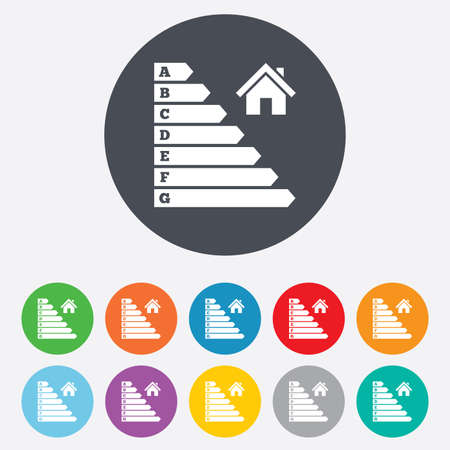 消費: エネルギー効率のアイコン。電力消費量のシンボルです。住宅建設の記号。丸いカラフルな 11 ボタン。ベクトル