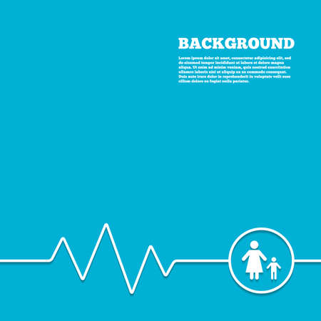 one child: Medicine background. One-parent family with one child sign icon. Mother with son symbol. Blue poster with white sign and cardiogram. Vector