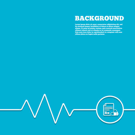 rx: Medicine background. Medical prescription Rx sign icon. Pharmacy or medicine symbol. With two pills. Blue poster with white sign and cardiogram. Vector