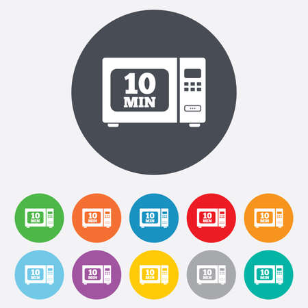 microwave stove: Cook in microwave oven sign icon. Heat 10 minutes. Kitchen electric stove symbol. Round colourful 11 buttons. Vector Illustration