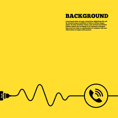 phone cord: Electric plug background. Phone sign icon. Support symbol. Call center. Yellow poster with black sign and cord. Vector