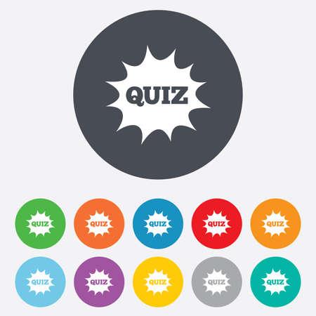 kwis: Quiz giek tekstballon teken pictogram. Vragen en antwoorden spelsymbool. Ronde kleurrijke 11 toetsen. Vector Stock Illustratie