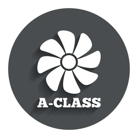 A-class ventilation icon. Energy efficiency sign symbol. Gray flat button with shadow. Modern UI website navigation. Vector