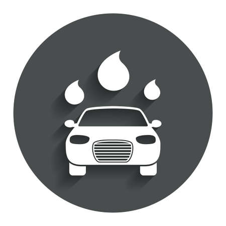 automated: Car wash icon. Automated teller carwash symbol. Water drops signs. Gray flat button with shadow. Modern UI website navigation. Vector