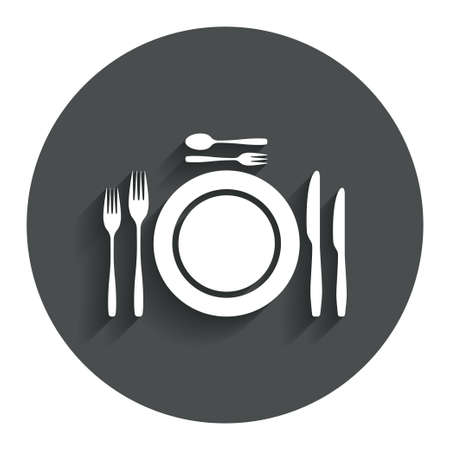 teaspoon: Plate dish with forks and knifes. Dessert trident fork with teaspoon. Eat sign icon. Cutlery etiquette rules symbol. Gray flat button with shadow. Modern UI website navigation. Vector