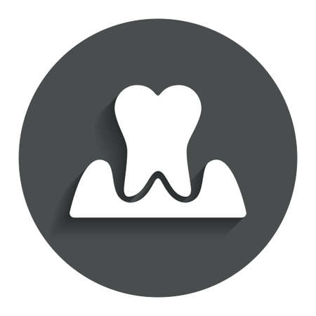 gingivitis: Parodontosis tooth icon. Gingivitis sign. Inflammation of gums symbol. Gray flat button with shadow. Modern UI website navigation. Vector Illustration