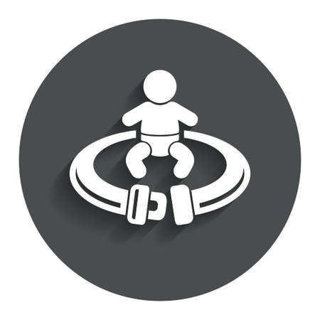 to fasten: Fasten seat belt sign icon. Child safety in accident. Gray flat button with shadow. Modern UI website navigation. Vector