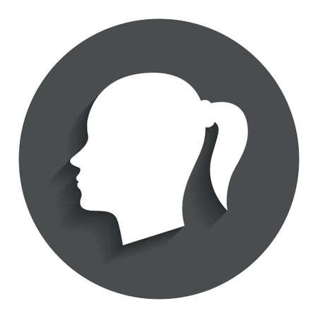 頭記号アイコン。女性の女性頭部ピグテール シンボル。影付きの灰色フラット ボタン。モダンな UI のウェブサイトのナビゲーション。ベクトル