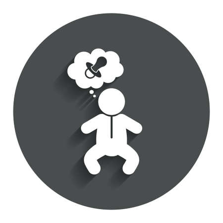think about: Baby infant think about pacifier nipple sign icon. Toddler boy in pajamas or crawlers body symbol. Gray flat button with shadow. Modern UI website navigation. Vector