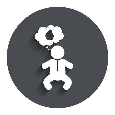 crawlers: Baby infant think about food sign icon. Toddler boy in pajamas or crawlers body symbol. Gray flat button with shadow. Modern UI website navigation. Vector