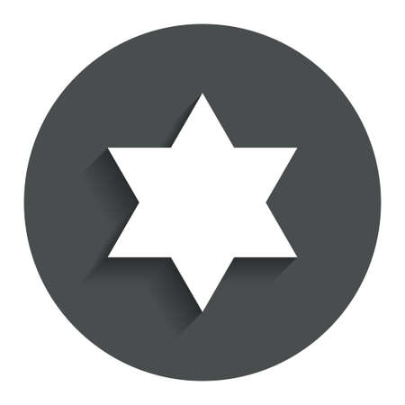 jewish star: Star of David sign icon. Symbol of Israel. Jewish hexagram symbol. Shield of David. Gray flat button with shadow. Modern UI website navigation. Vector