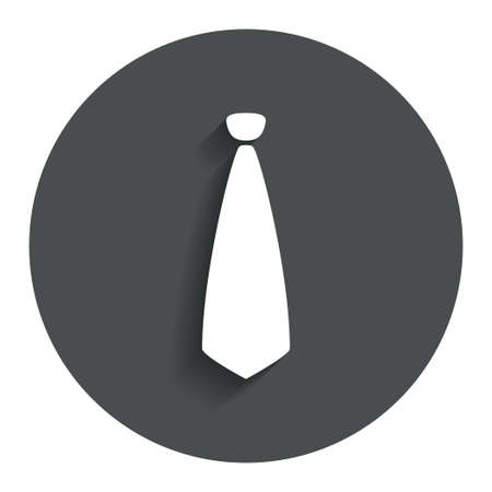 official wear: Tie sign icon. Business clothes symbol. Gray flat button with shadow. Modern UI website navigation. Vector Illustration