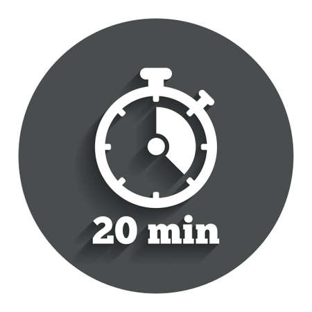 Timer sign icon. 20 minutes stopwatch symbol. Gray flat button with shadow. Modern UI website navigation. Vector