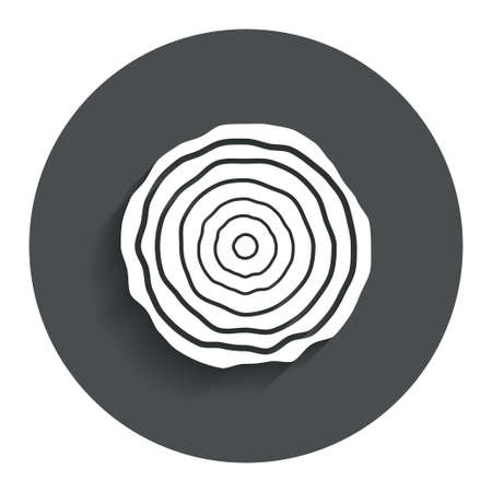 rings on a tree: Wood sign icon. Tree growth rings. Tree trunk cross-section. Gray flat button with shadow. Modern UI website navigation. Vector