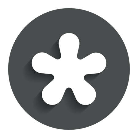 more information: Asterisk round footnote sign icon. Star note symbol for more information. Gray flat button with shadow. Modern UI website navigation. Vector Illustration