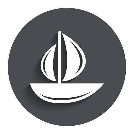 ship sign: Sail boat icon. Ship sign. Shipment delivery symbol. Gray flat button with shadow. Modern UI website navigation. Vector