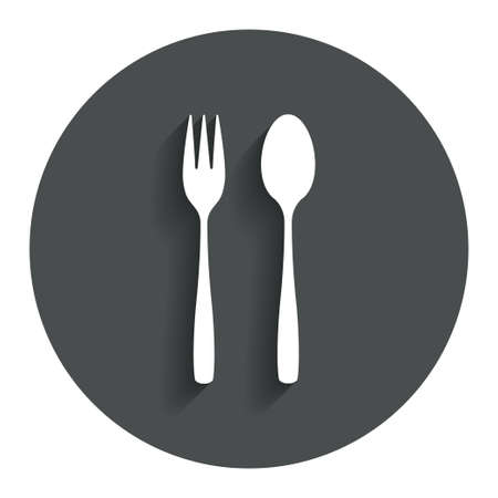 teaspoon: Eat sign icon. Cutlery symbol. Dessert fork and teaspoon. Gray flat button with shadow. Modern UI website navigation. Vector