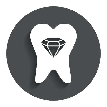 Broken tooth icon. Dental care sign symbol. Gray flat button with shadow. Modern UI website navigation. Vector Vector