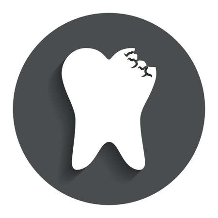 prestige: Tooth crystal icon. Tooth jewellery sign. Dental prestige symbol. Gray flat button with shadow. Modern UI website navigation. Vector Illustration