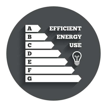 消費: エネルギー効率のアイコン。電力消費量のシンボルです。アイデア ランプ記号。影付きの灰色フラット ボタン。モダンな UI のウェブサイトのナビゲーション。ベクトル  イラスト・ベクター素材
