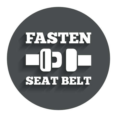 to fasten: Fasten seat belt sign icon. Safety accident. Gray flat button with shadow. Modern UI website navigation. Vector