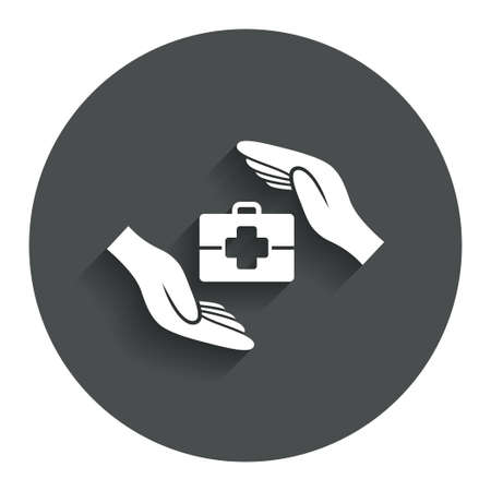 medical case: Medical insurance sign icon. Health insurance symbol. Doctor case. Gray flat button with shadow. Modern UI website navigation. Vector