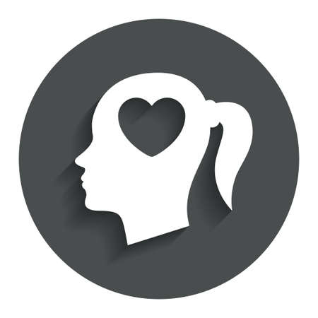 Head with heart sign icon. Female woman human head in love with pigtail symbol. Gray flat button with shadow. Modern UI website navigation. Vector