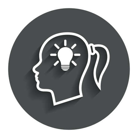 gray bulb: Head with lamp bulb sign icon. Female woman human head idea with pigtail symbol. Gray flat button with shadow. Modern UI website navigation. Vector