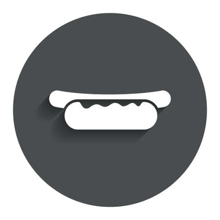 Hotdog sandwich with mustard icon. Sausage symbol. Fast food sign. Gray flat button with shadow. Modern UI website navigation. Vector