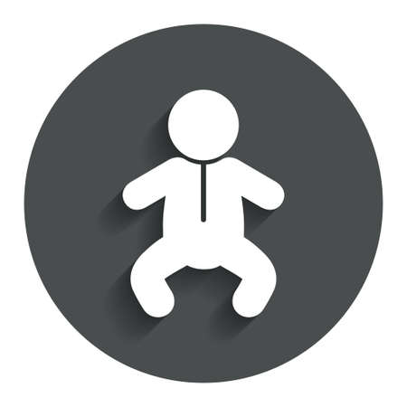 crawlers: Baby infant sign icon. Toddler boy in pajamas or crawlers body symbol. Child WC toilet. Gray flat button with shadow. Modern UI website navigation. Vector Illustration