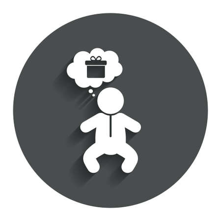 crawlers: Baby infant think about gift box sign icon. Toddler boy in pajamas or crawlers body symbol. Gray flat button with shadow. Modern UI website navigation. Vector Illustration