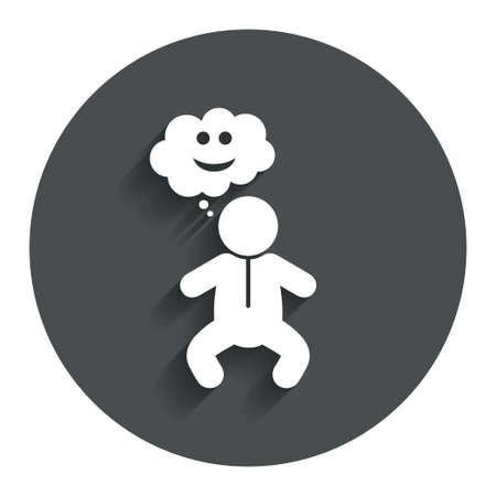 crawlers: Baby infant happy think sign icon. Toddler boy in pajamas or crawlers body symbol. Gray flat button with shadow. Modern UI website navigation. Vector