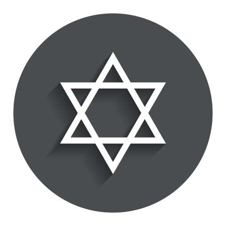 hexagram: Star of David sign icon. Symbol of Israel. Jewish hexagram symbol. Shield of David. Gray flat button with shadow. Modern UI website navigation. Vector