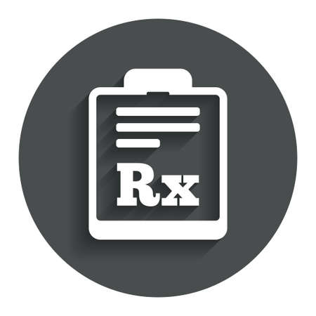 rx: Medical prescription Rx sign icon. Pharmacy or medicine symbol. Gray flat button with shadow. Modern UI website navigation. Vector