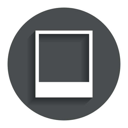 photography frame: Photo frame template sign icon. Empty  photography symbol. Gray flat button with shadow. Modern UI website navigation. Vector Illustration