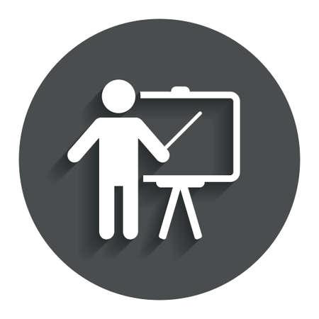 Presentation sign icon. Man standing with pointer. Blank empty billboard symbol. Gray flat button with shadow. Modern UI website navigation. Vector 版權商用圖片 - 35194231