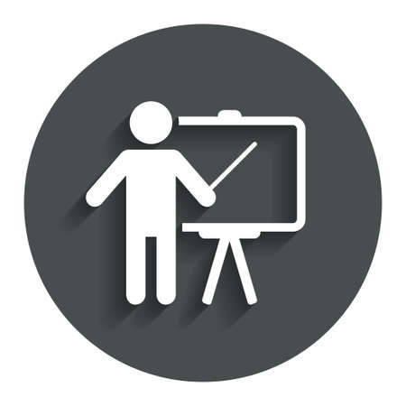 Presentation sign icon. Man standing with pointer. Blank empty billboard symbol. Gray flat button with shadow. Modern UI website navigation. Vector Illustration