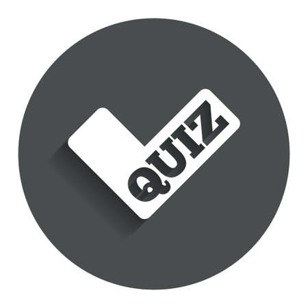 check sign: Quiz check sign icon. Questions and answers game symbol. Gray flat button with shadow. Modern UI website navigation. Vector Illustration