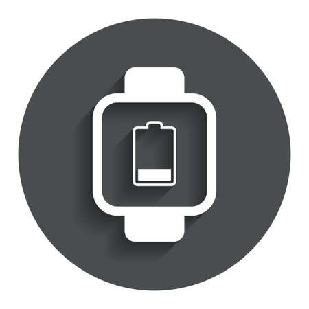 low battery: Smart watch sign icon. Wrist digital watch. Low battery energy symbol. Gray flat button with shadow. Modern UI website navigation. Vector