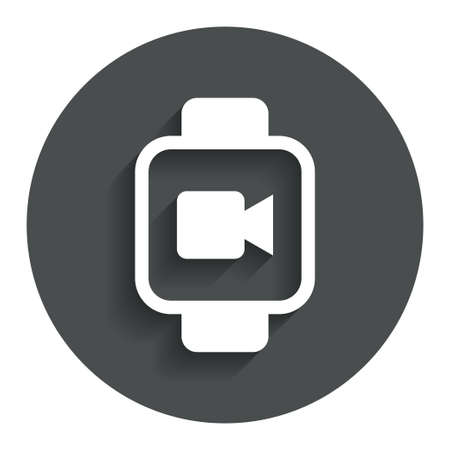 watch video: Smart watch sign icon. Wrist digital watch. Video camera symbol. Gray flat button with shadow. Modern UI website navigation. Vector