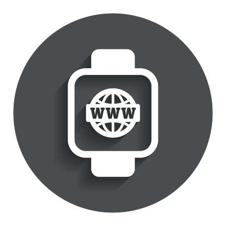 cut wrist: Smart watch sign icon. Wrist digital watch. Globe internet symbol. Gray flat button with shadow. Modern UI website navigation. Vector