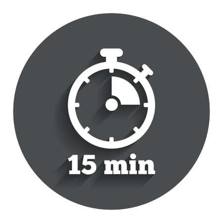 타이머 기호 아이콘입니다. 15 분 스톱 워치 기호. 그림자와 함께 회색 평면 단추입니다. 현대 UI 웹 사이트 탐색. 벡터