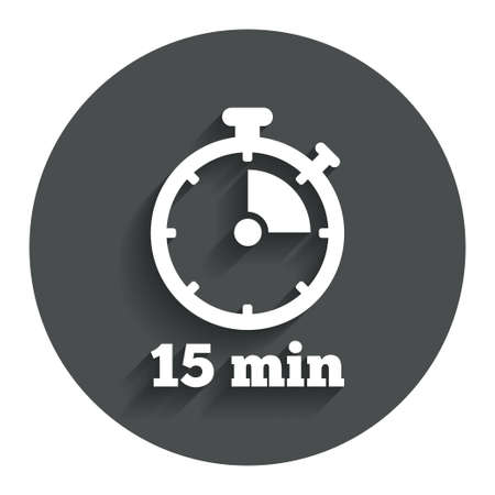 Timer sign icon. 15 minutes stopwatch symbol. Gray flat button with shadow. Modern UI website navigation. Vector