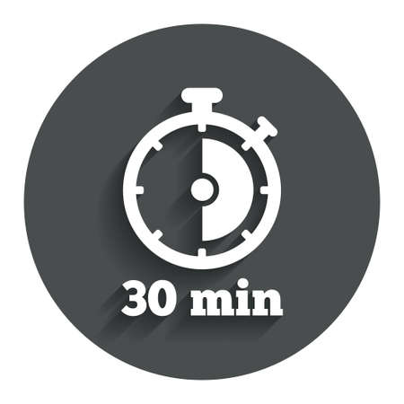 Timer sign icon. 30 minutes stopwatch symbol. Gray flat button with shadow. Modern UI website navigation. Vector