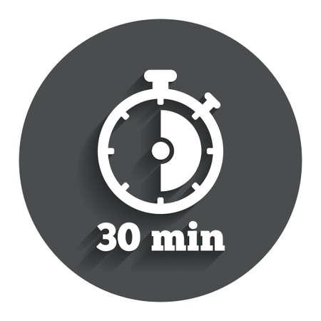 Timer teken pictogram. 30 minuten stopwatch-symbool. Grijze platte knop met schaduw. Modern UI website navigatie. Vector Stockfoto - 35194165