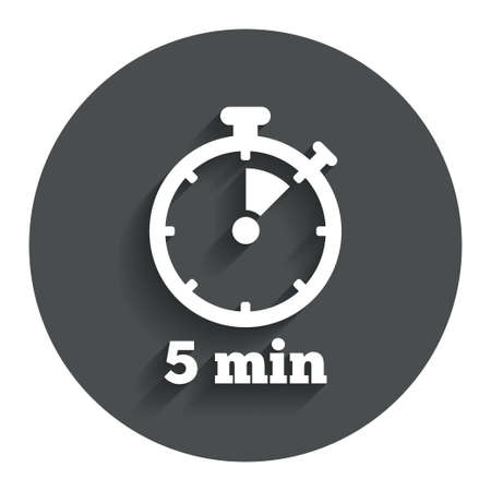 corner clock: Timer sign icon. 5 minutes stopwatch symbol. Gray flat button with shadow. Modern UI website navigation. Vector