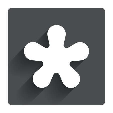 more information: Asterisk round footnote sign icon. Star note symbol for more information. Gray flat square button with shadow. Modern UI website navigation. Vector