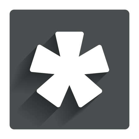 more information: Asterisk footnote sign icon. Star note symbol for more information. Gray flat square button with shadow. Modern UI website navigation. Vector