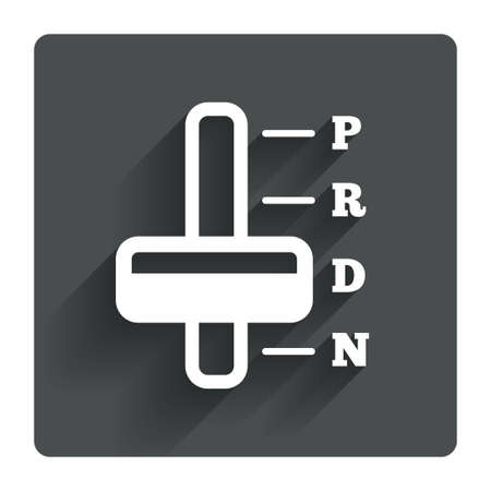 automatic transmission: Automatic transmission sign icon. Auto car control symbol. Gray flat square button with shadow. Modern UI website navigation. Vector