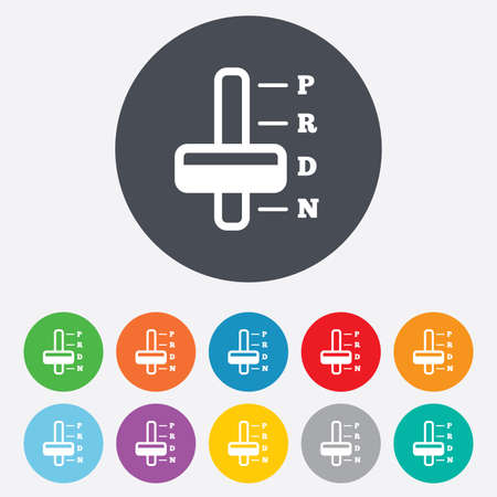 automatic transmission: Automatic transmission sign icon. Auto car control symbol. Round colourful 11 buttons. Vector